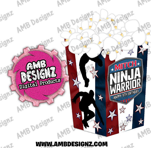 American Ninja Warrior Popcorn Box Favor - American Ninja Warrior Party Supplies