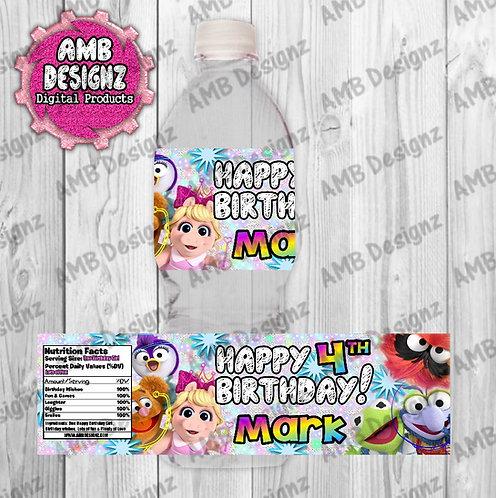 Muppet Babies Water Bottle Wrap - Muppet Babies Party Supplies