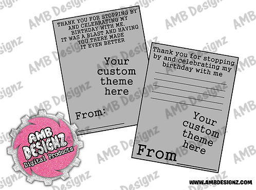Custom Any Theme Thank you Cards - Custom Party Supplies