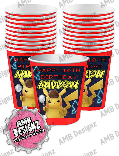 Pikachu Party Cups - Pikachu Detective Party Supplies