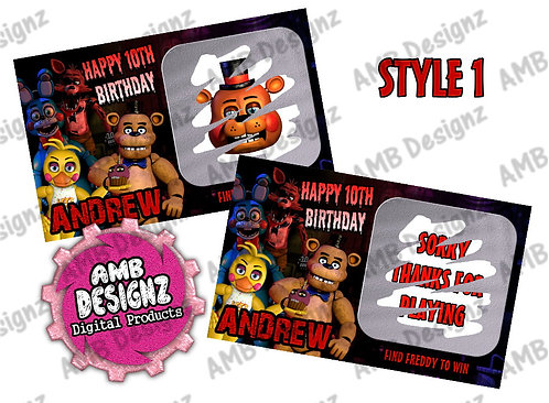 Five Nights at Freddy's Scratch Off Ticket Favor - FNAF Party Supplies