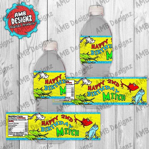 Dr. Seuss 1 Fish 2 Fish Water Bottle Wrap - Dr. Seuss Party Supplie