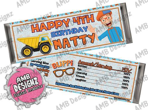 Blippi Candy Bar Wrap, Blippi Party Supplies