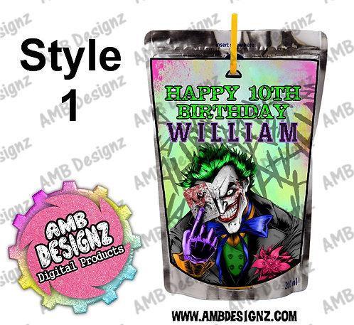 Joker Capri-Sun Pouch Label - Joker Party Supplies