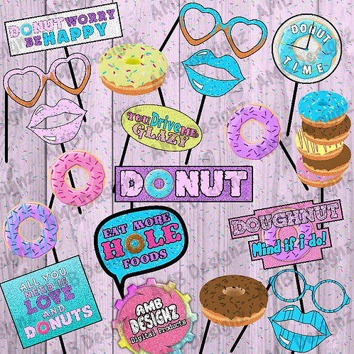Donut Photo Booth Props Party Decorations Doughnut Shop Party