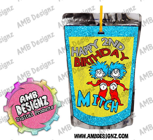 Dr. Seuss Thing 1 Thing 2 Capri-Sun Juice Pouch Label