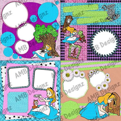 Alice in Wonderland Digital Scrapbooking Premade Album/Pages