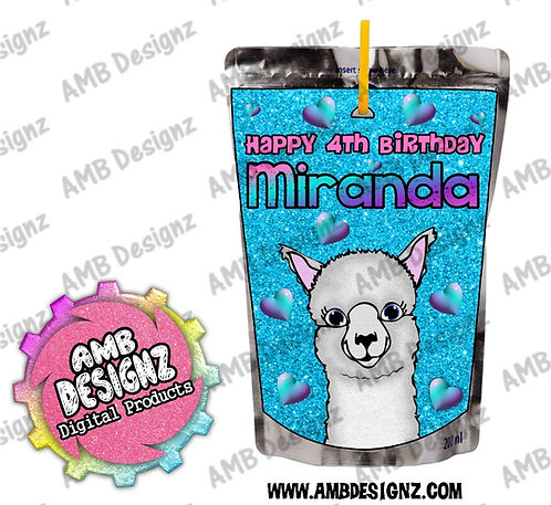 Llama Juice Pouch Labels - Llama Party Supplies