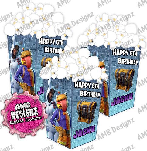 Fortnite Popcorn Box Favor- Fortnite Party Supplies