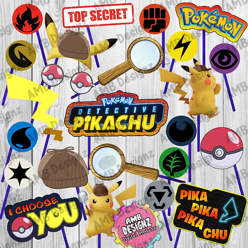 Pikachu Detective Photo Booth Props - Pikachu Pokemon Party Supplies