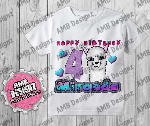 Llama Birthday T-Shirt Image - Llama Party Supplies