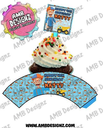 Blippi Cupcake Topper and Blippi Cupcake wrapper