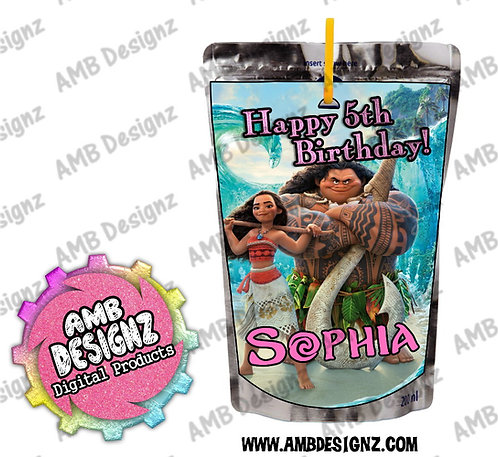 Disney's Moana Juice Pouch Label - Moana Party Supplies