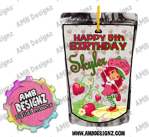 Strawberry Shortcake Capri-Sun Pouch Label - Strawberry Shortcake Party Supplies