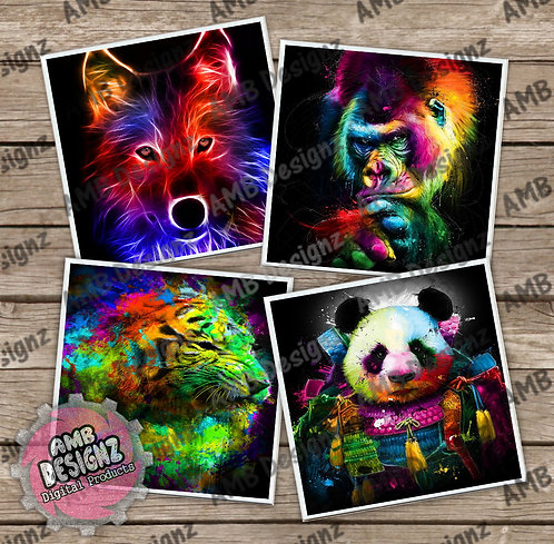 Neon Animal Themed Tile Coaster Set