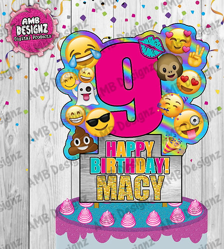 Emoji Cake Topper Centerpiece - Emoji Party Supplies