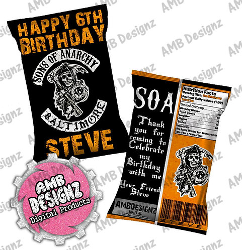 Sons of Anarchy Chip Bag Party Favor Party Supplies