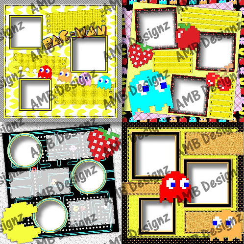 Pac-Man Digital Scrapbooking Premade Album/Pages