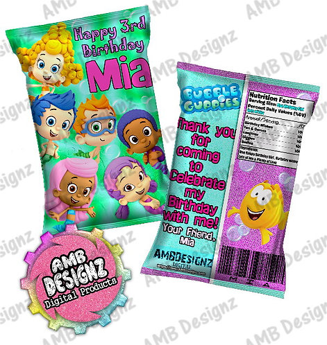 Bubble Guppies Chip Bag Party Favors Party Supplies
