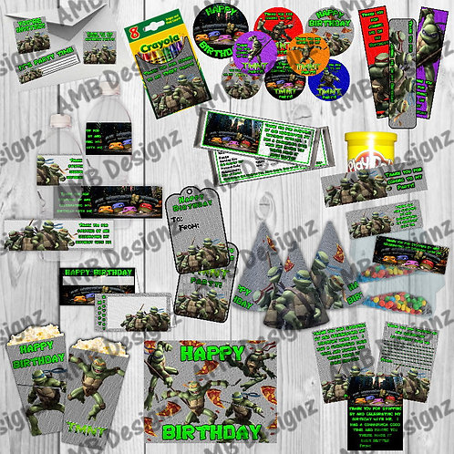 TMNT Party Supplies Cake Topper Party Labels