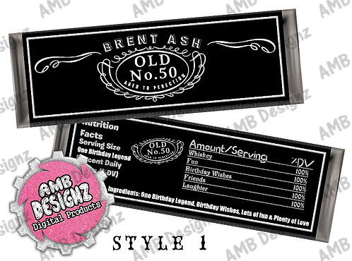 Jack Daniels Candy Bar Wrapper, Jack Daniels Party Supplies