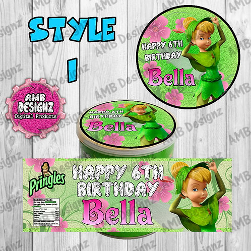 Tinkerbell Fairies Pringles Can Labels - Tinkerbell Fairies Party Supplies
