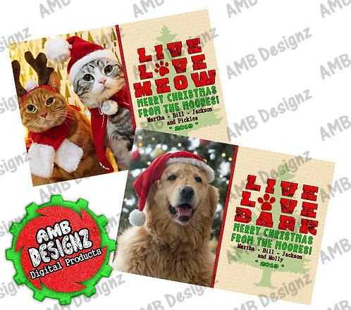 Live Love Christmas Greeting Card - Photo Christmas card