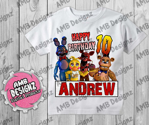 Five Nights at Freddy's (FNAF) T-Shirt Birthday Image - FNAF Party Supplies