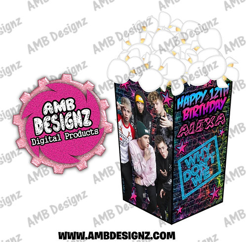 Why Don't We Popcorn Box Favor - Why Don't We Party Supplies