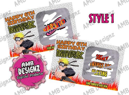 Naruto Scratch Off Ticket Favor - Naruto Party Supplies