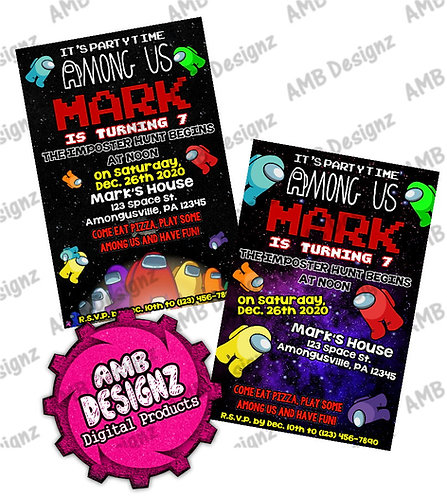 Among Us Invitations - Among Us Party Supplies