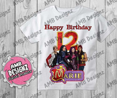 Disney Descendants T-Shirt Birthday Image - Disney Descendants Party Supplies