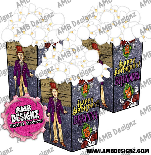 Wonka Popcorn Boxes - Wonka Party Supplies