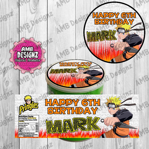 Naruto Pringles Can Labels - Naruto Party Supplies