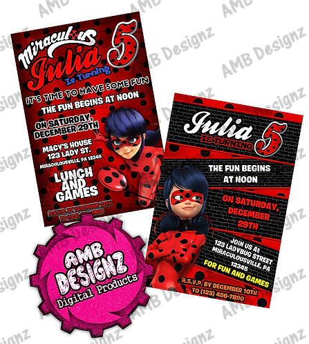 Miraculous Ladybug Invitations - Miraculous Ladybug Party Supplies