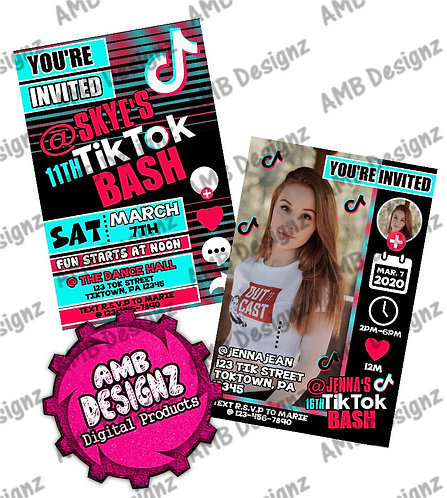 Tik Tok Invitations - Tik Tok Party Supplies