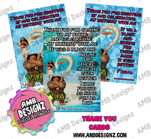 Disney's Moana Thank you Cards - Moana Party Supplies