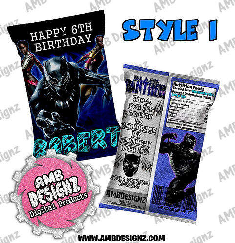 Black Panther Chip Bag Favor - Black Panther Party Supplies
