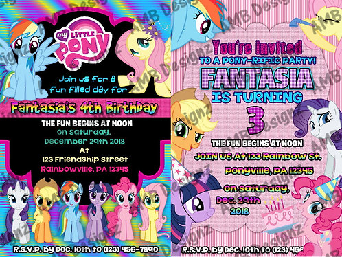 My Little Pony Invitation Party Supplies