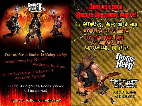 Guitar Hero Invitations