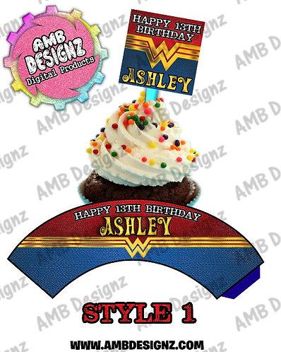 Wonder Women Cupcake Topper and wrapper- Wonder Women Party Supplies