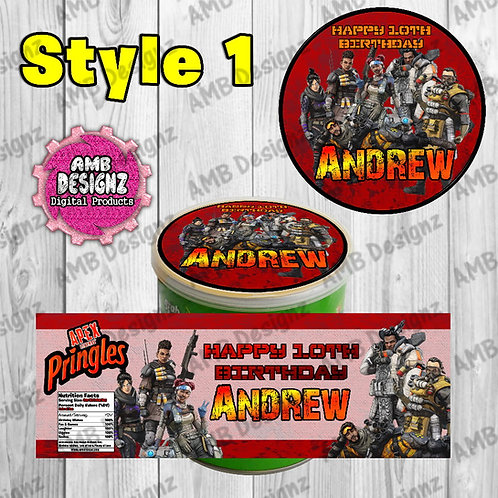 Apex Legends Pringles Can Labels - Apex Legends Party Supplies