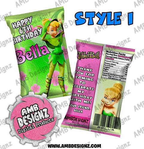 Tinkerbell Fairies Chip Bag Favor - Tinkerbell Fairies Party Supplies