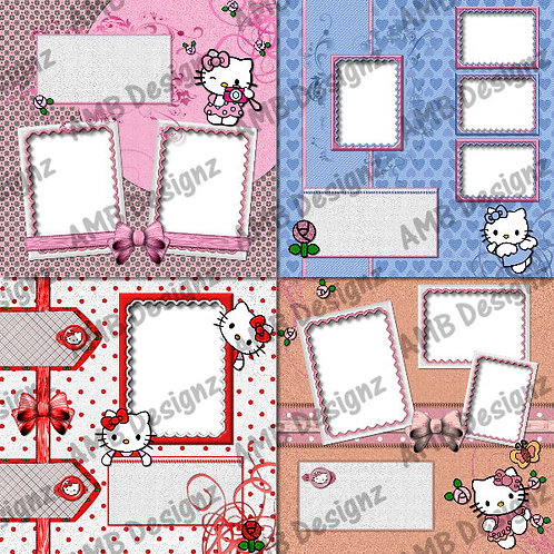 Hello Kitty Digital Scrapbooking Premade Album/Pages Set 2