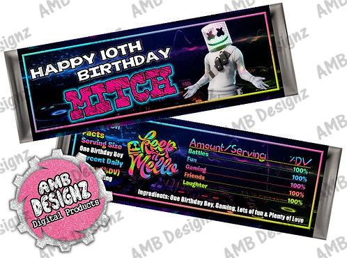DJ Marshmello Candy Bar Wrapper - DJ Marshmello Party Supplies