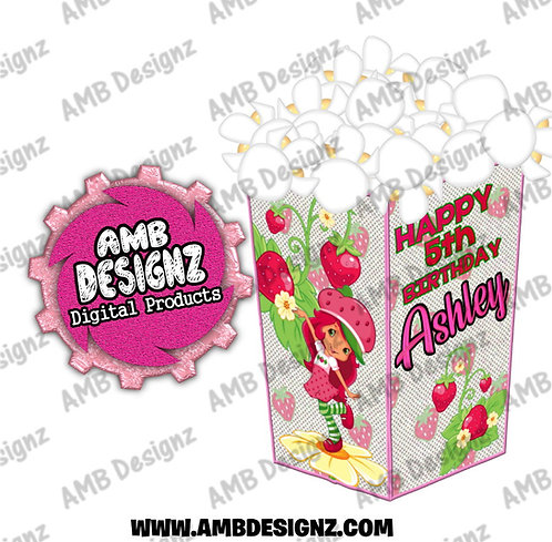 Strawberry Shortcake Popcorn Box Favor - Strawberry Shortcake Party Supplies