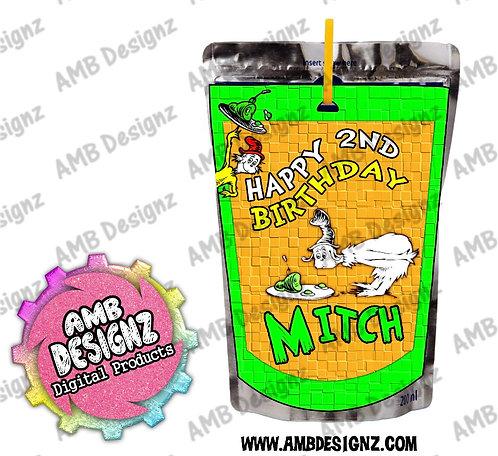 Dr. Seuss Green Eggs and Ham Capri-Sun Juice Pouch Label