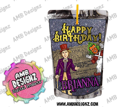 Willy Wonka Juice pouch label - Wonka Party Supplies