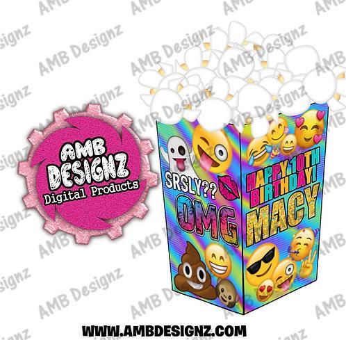 Emoji Popcorn Box Favor - Emoji Party Supplies