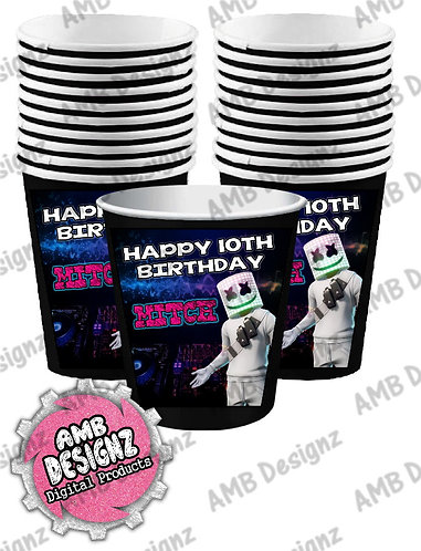 DJ Marshmello Party Cups - DJ Marshmello Party Supplies
